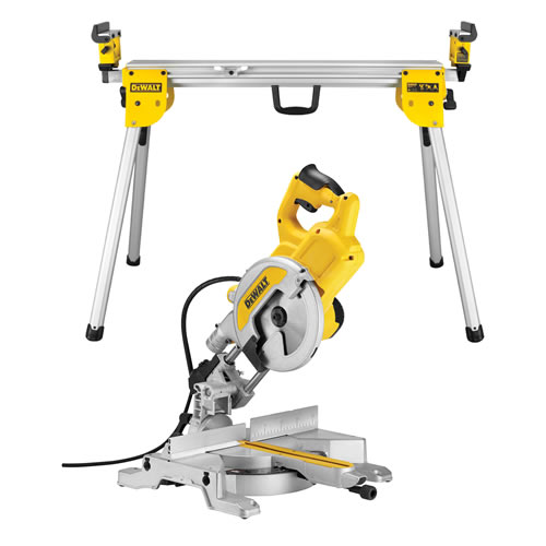 Dewalt DWS777PK 216mm XPS Slide Mitre Saw with Compact Universal Mitresaw Stand