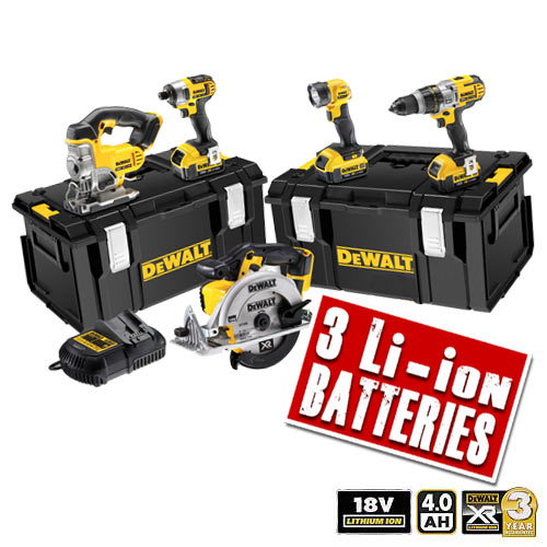 Dewalt XR5 Dewalt 18v 4.0Ah XR Li-ion 5 Piece Pack (3 Speed Drill)
