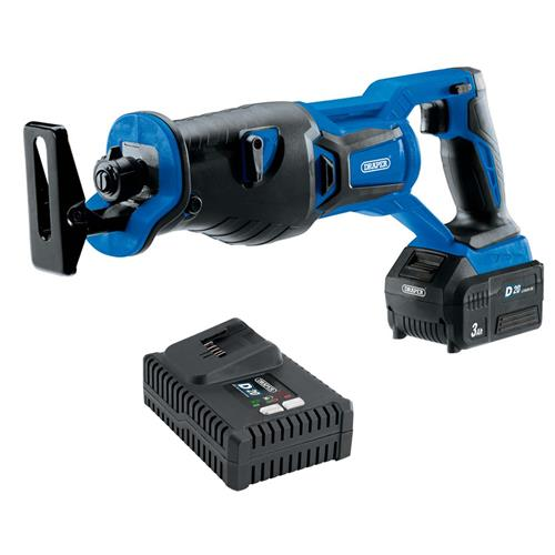 Draper 00593 20v D20 Brushless Reciprocating Saw with 1 x 3Ah Battery and Charger