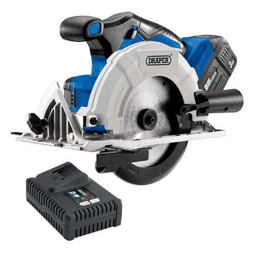Draper 594 20v D20 165mm Brushless Circular Saw with 1 x 3Ah Battery and Charger