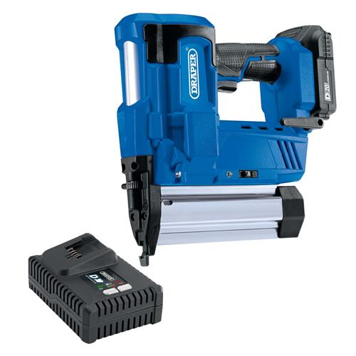 Draper 00646 D20 20v Nail Gun/Stapler with 1 x 2Ah Battery, Charger and Case