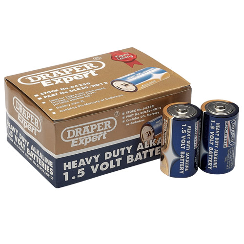 Draper 64250 (DLR20/HD12) Draper D Heavy Duty Alkaline Batteries 12 Pack