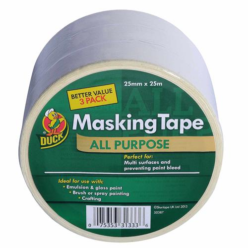 Duck Tape 260121 All Purpose Masking Tape 25mm x 25m Triple Pack