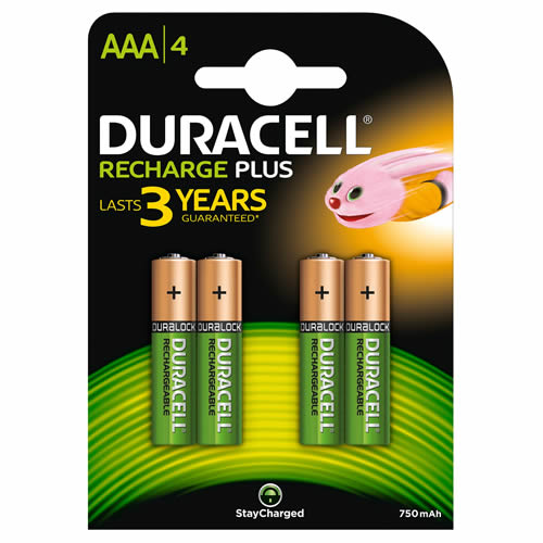 Duracell HR03B4-750SC Duracell Recharge Plus AAA Batteries Pack of 4
