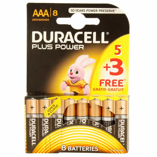 Duracell MN24005-3 Duracell Plus Power AAA Batteries Pack of 8