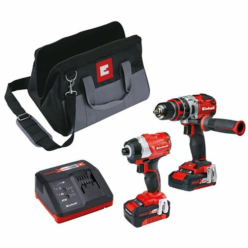 Einhell 18V Brushless Twin Pack 2 Piece Impact Driver & Drill with 2x Batteries, Case Charger