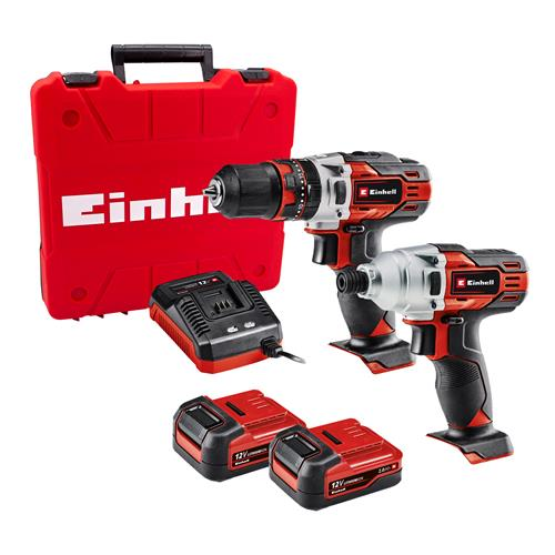 Einhell TE-TK 12 LI 12V Combi Drill and Impact Driver 2 Piece Kit with 2x 2Ah Batteries & Charger