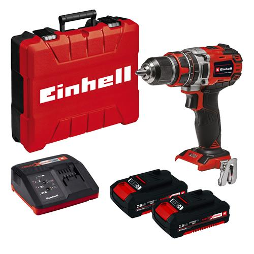 Einhell TE-CD 18/50 Li-i BL 18V Brushless Combi Drill with 2x 2Ah Batteries, Case & Charger