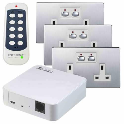 Energenie MIHO041 MiHome 2G Socket Bundle - Steel