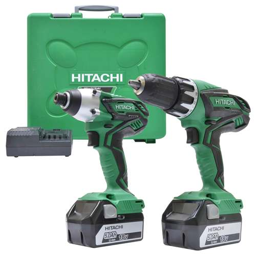 Hitachi KC18DGL/JE Hitachi 18v Li-ion 5.0Ah Cordless 2 Piece Kit