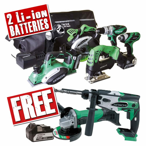 Hitachi KTL6PK 18v 6 Piece Kit with 2 x 5Ah Batteries, Charger and Bag