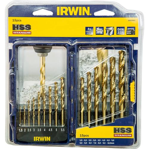 IRWIN HSS TiN Pro Drill Set 15 Piece IRW10503991