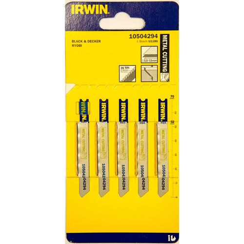 Irwin 70mm Metal Cutting HSS Jigsaw Blades U-Shank U118G - Pack of 5