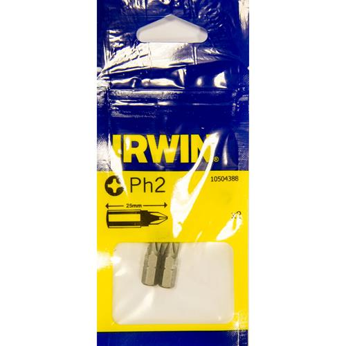 Irwin 10504388 Irwin PH2 25mm Screwdriver Bits - Pack of 2