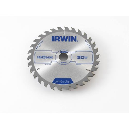 Irwin Construction Saw Blade 160mm x 20mm 30T Corded