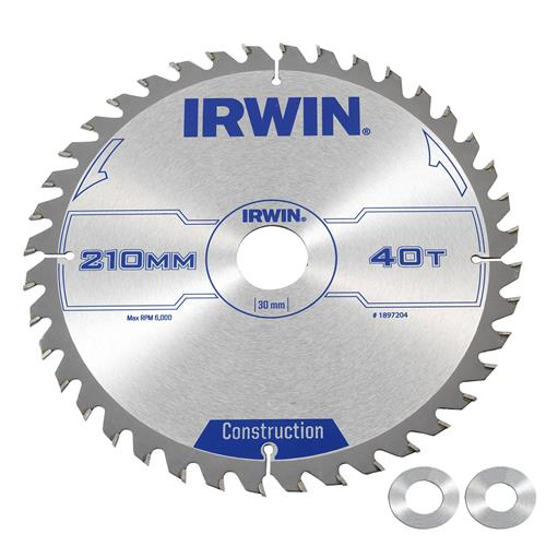 Irwin Construction Saw Blade 160mm x 30mm 40T Corded