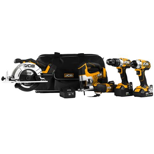 JCB 185PK 18v 5 Piece Kit with 2 x 4Ah and 1 x 2Ah Batteries, Charger and 2 x Cases