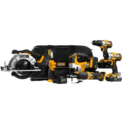 JCB 186PK 18v 6 Piece Kit with 2 x 5Ah and 2 x 2Ah Batteries, Charger and Tool Bag
