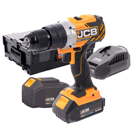 JCB 18BLCD 18v Brushless Combi with 1 x 2Ah + 1 x 4Ah Batteries, Charger and Case