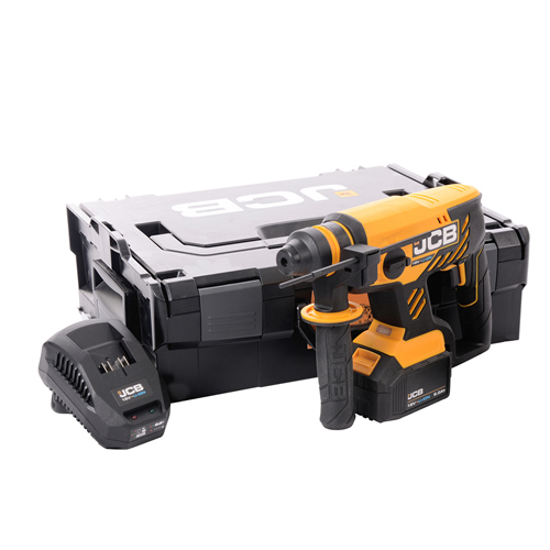 JCB 18BLRH-5X 18v Brushless SDS+ Drill with 1 x 5Ah Battery, Charger and Case