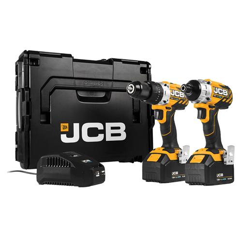 JCB 18BL-TPK1 18v Brushless 2 Piece Kit with 2 x 5Ah Batteries, Charger and Case