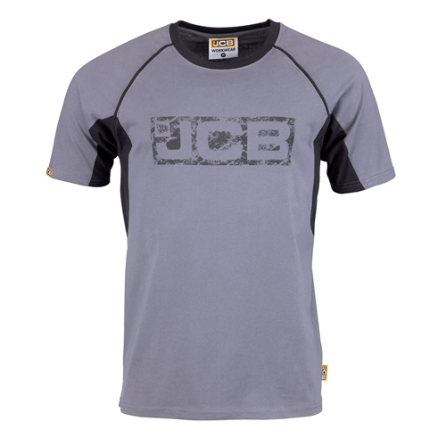 JCB Trade Grey And Black Printed Logo Tshirt