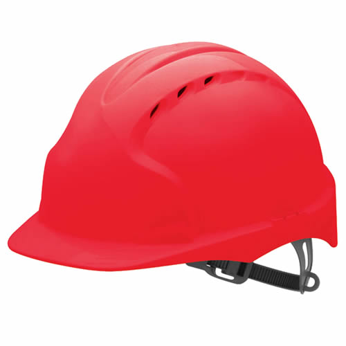 JSP EVO2R JSP EVO2 Safety Helmet, Vented with Slip Ratchet (Red)