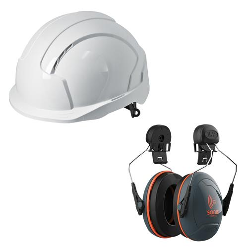 JSP EVOLITEWBOM2 EVOLite Mid Peak Slip Ratchet White Vented Helmet with Sonis® SNR 31 Compact Ear Defenders
