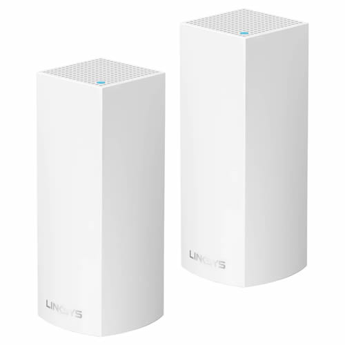 Linksys WHW0302-UK Velop AC2200 Simultaneous Tri-Band Mesh WiFi Router/System, Two Pack (2200Mbps AC)