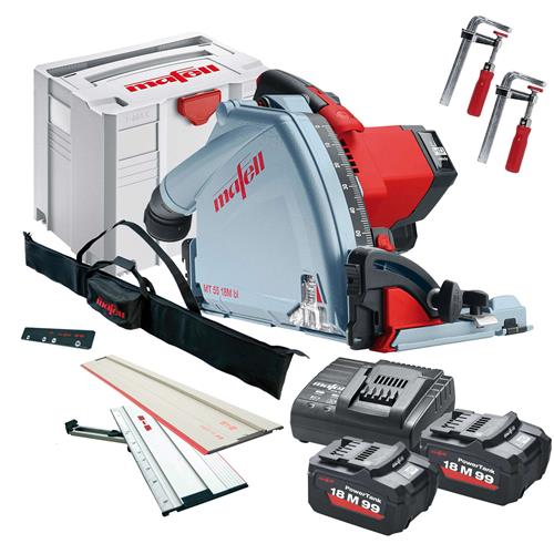 Mafell MT5518MBL 18v 57mm Plunge Saw with 2 x 5.5Ah Batteries,  1 x 1.6m rail, 1 x 1.8m rail, Charger and Case