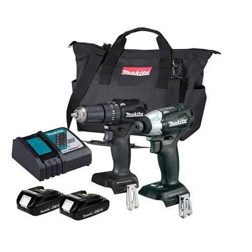 Makita 2KITBL 18v LXT Brushless Black 2 Piece Kit with 2 x 2Ah Batteries, Charger and Bag