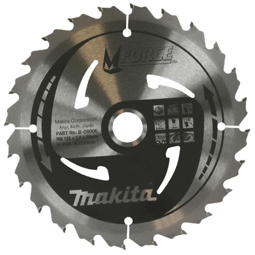 Makita B-08006 Makita 165mm 24 Tooth 'MFORCE' TCT Circular Saw Blade