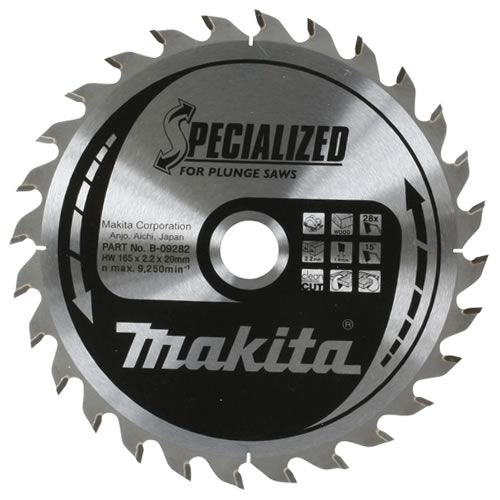 Makita B-09282 Makita 165mm 28 Tooth Wood Cutting Saw Blade for SP6000