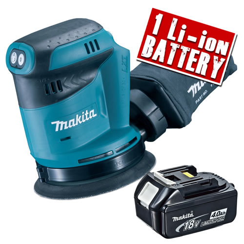 Makita DBO180-Z4 Makita 18v Li-ion 125mm Orbital Sander Body + 1 x  4.0Ah Battery