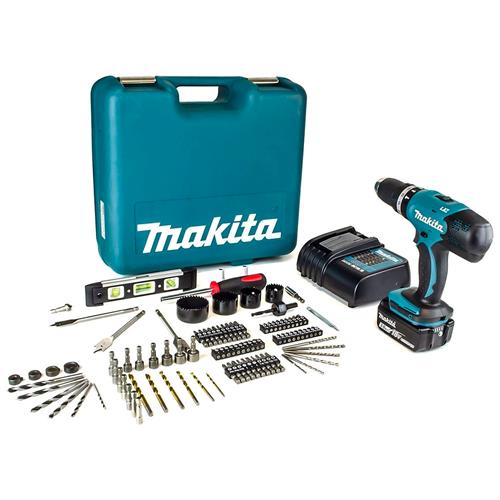 Makita DHP453 18V LXT Combi Drill, 1x 3.0Ah Battery, Charger and 101 Piece Accessory Kit