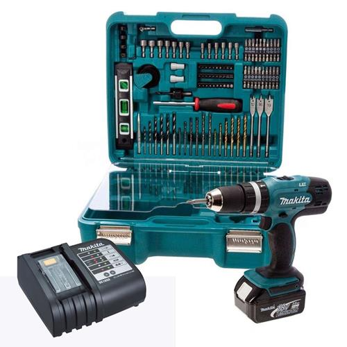 Makita DHP453SFTK 18v LXT Combi Drill with 1 x 3Ah Battery, Charger and Case + Accessory Set