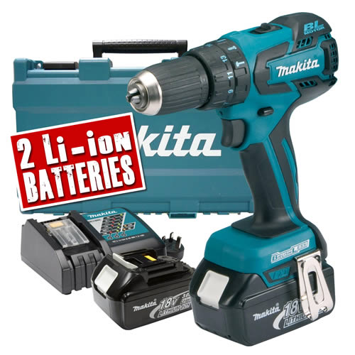 Makita DHP459RFE Makita 18v Lithium-ion Cordless Brushless Hammer Drill Driver 2 Speed