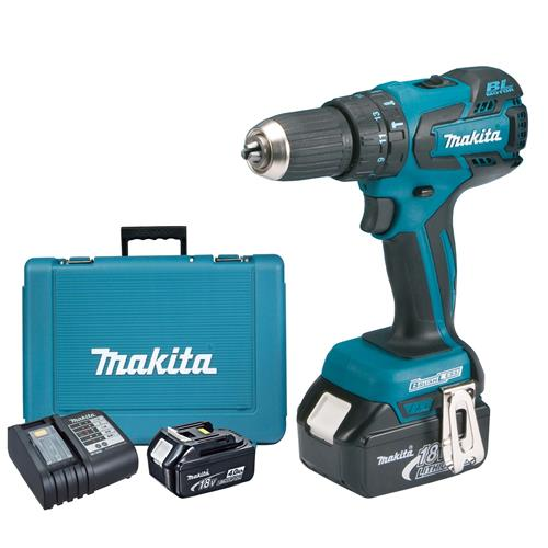 Makita DHP459SME 18v LXT Brushless Combi Drill with 2 x 4Ah Batteries, Charger and Case