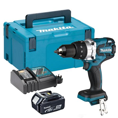 Makita DHP481RMJX 18v LXT Brushless Combi Drill with 1 x 4Ah Battery, Charger and Case