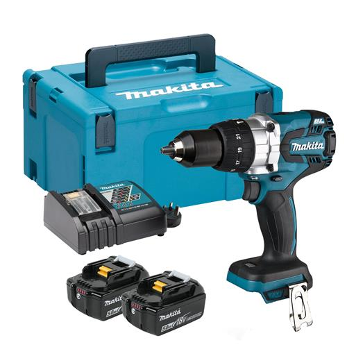 Makita DHP481RTJ 18V LXT Brushless Combi Drill with 2 x 5.0Ah Battery, Charger and Case