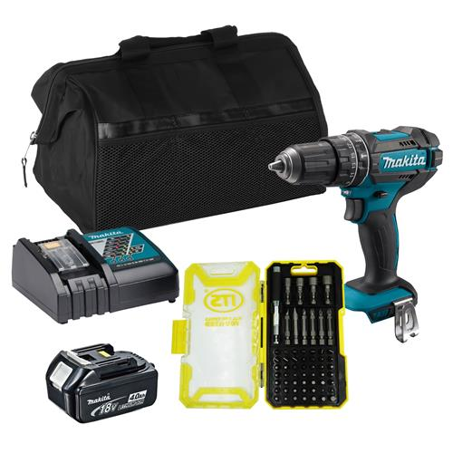 Makita DHP482 18v LXT Combi Drill with 1 x 4Ah Battery, Charger and Bag