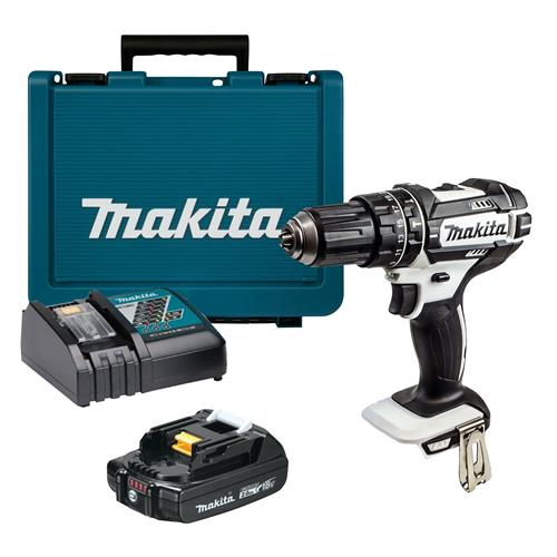 Makita DHP482WKIT 18v LXT White Combi Drill with 1 x 2Ah Battery, Charger and Case