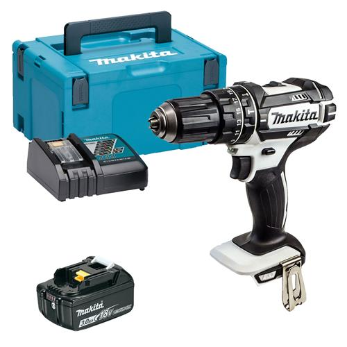 Makita DHP482WMP 18v LXT White Combi Drill with 1 x 3Ah Battery, Charger and Case