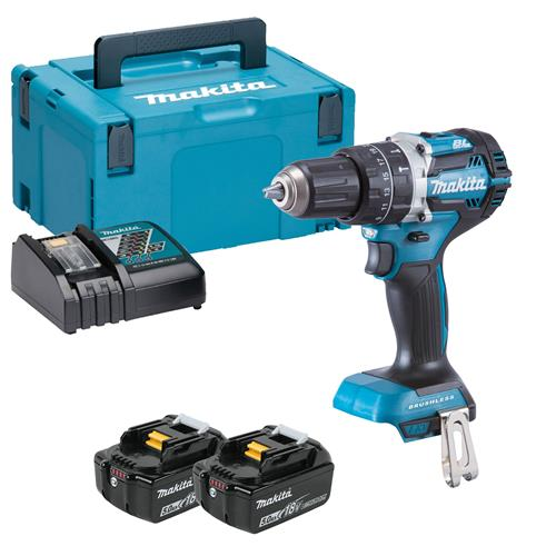 Makita DHP484RTJ 18v LXT Brushless Combi Drill with 2 x 5Ah Batteries, Charger and Case