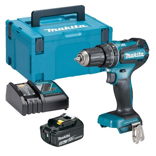 Makita DHP485RJX 18v LXT Brushless Combi Drill with 1 x 3Ah Battery, Charger and Case