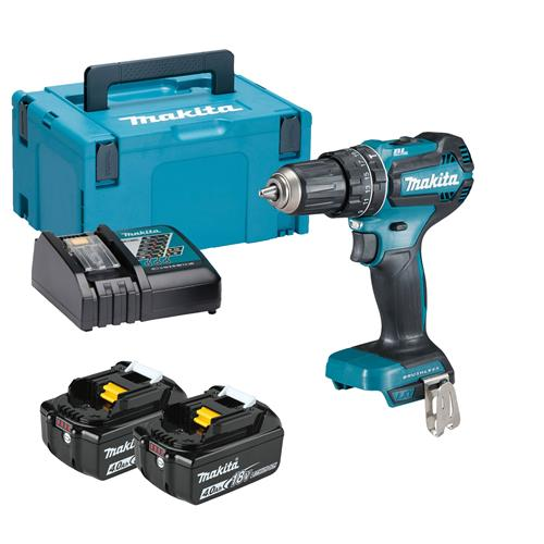 Makita DHP485RMJ 18v LXT Brushless Combi Drill with 2 x 4Ah Battery, Charger and Case