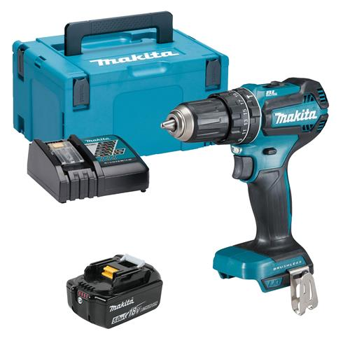 Makita DHP485RTJX 18v LXT Brushless Combi Drill with 1 x 5Ah Battery, Charger and Case