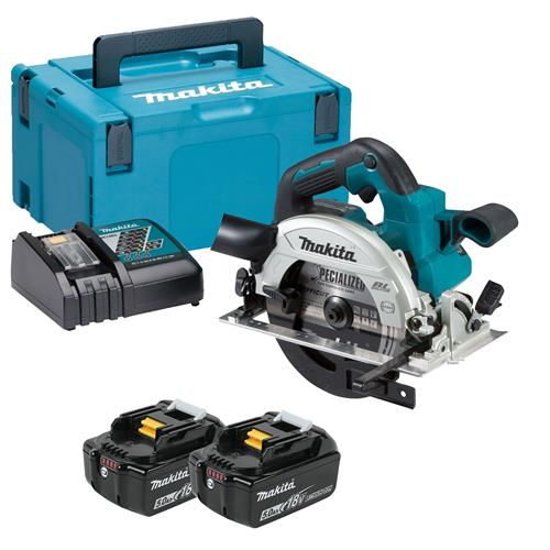 Makita DHS660RTJ 18v LXT Brushless 165mm Circular Saw with 2 x 5Ah Batteries, Charger and Case