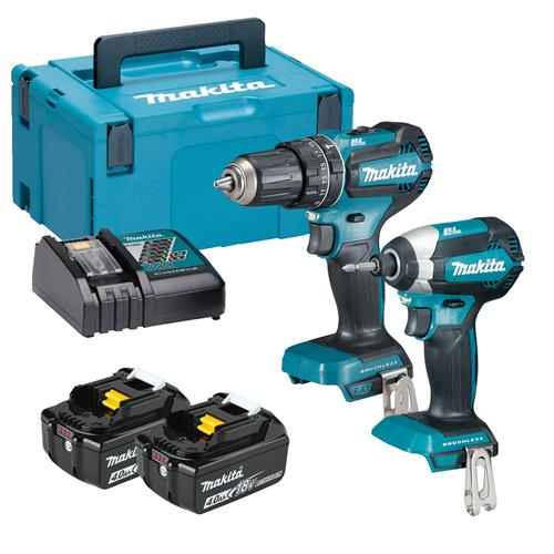 Makita DLX2283MJ 18v LXT Brushless 2 Piece Kit with 2 x 4Ah Batteries, Charger  and Case