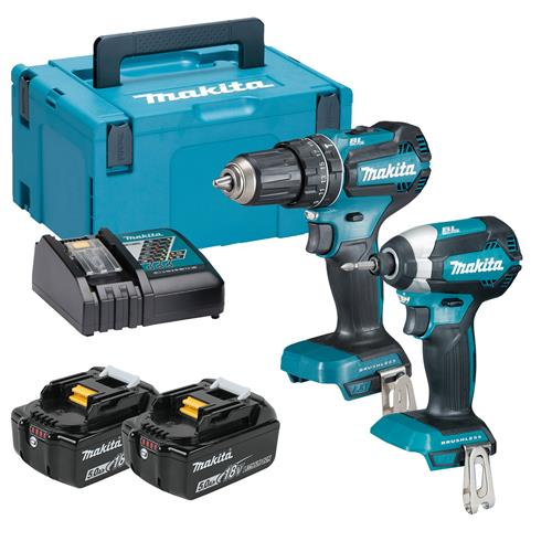 Makita DLX2283TJ 18v LXT Brushless 2 Piece Kit with 2 x 5Ah Batteries, Charger and Case